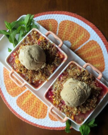 Peach Raspberry Crumble with Chai Ice Cream