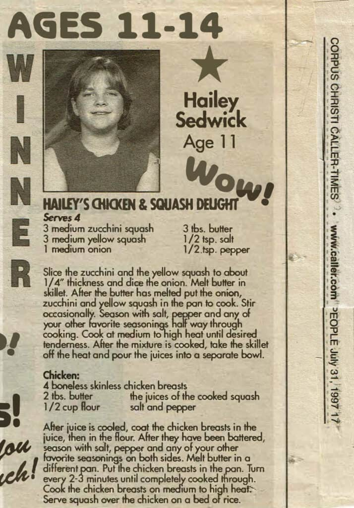 a newspaper clipping with a picture of Hailey at age 11 and her award winning Chicken & Squash Delight recipe written below