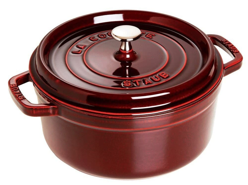 red Staub cocotte with lid
