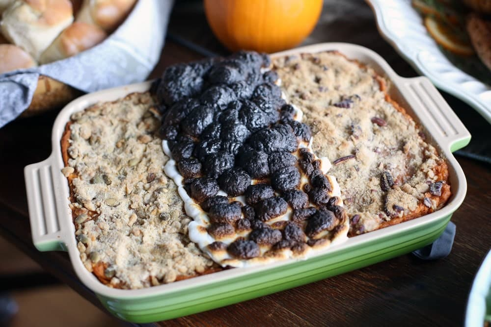 a sweet potato casserole with three different toppings arranged side by side