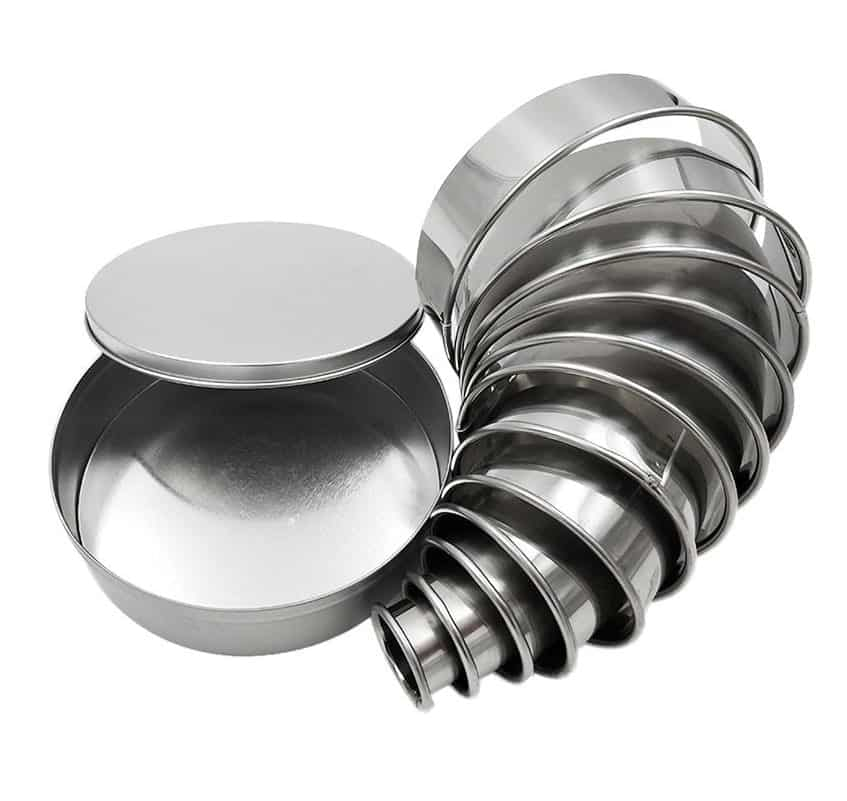 metal biscuit cutters splayed out and tapered in size