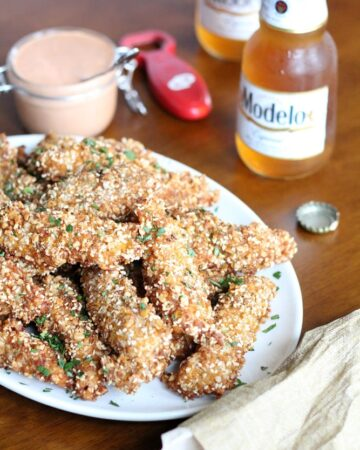 Corn Flake Chicken Strips with Sesame and Almonds