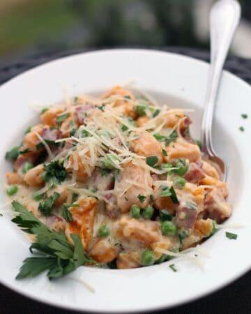 Sweet Potato Gnocchi with Ham and Peas