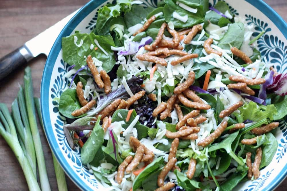 a shallow bowl with ornate blue pattern filled with a salad of mixed greens with chopped cabbage and carrot and sprinkled with crunchy sesame sticks