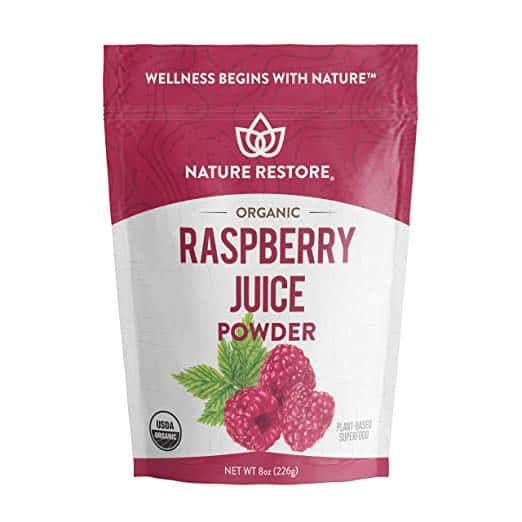 a bag of organic raspberry juice powder
