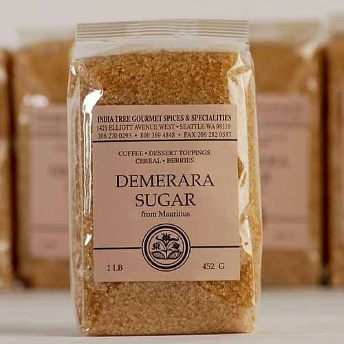 packages of coarse brown demerara sugar from Mauritius