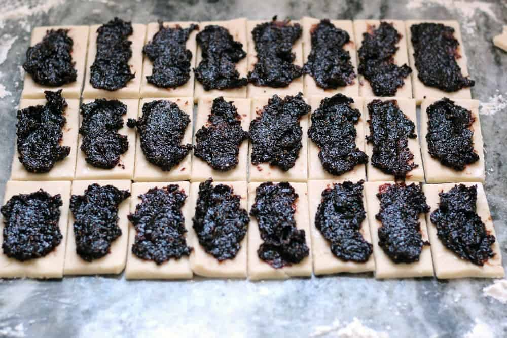 fig puree spread onto rectangles of pastry dough