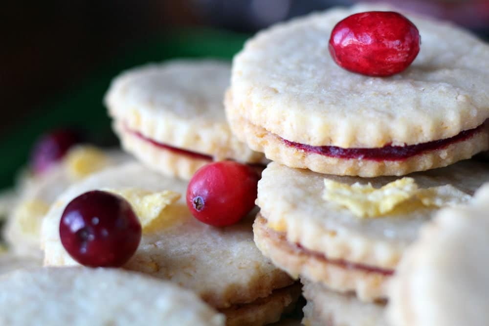 stacked Corn Flake Shortbread & Cranberry Jam Cookie Sandwiches