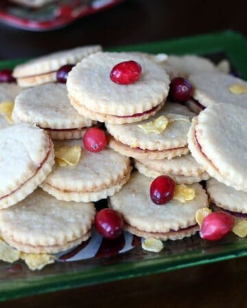 Corn Flake Shortbread & Cranberry Jam Cookie Sandwiches