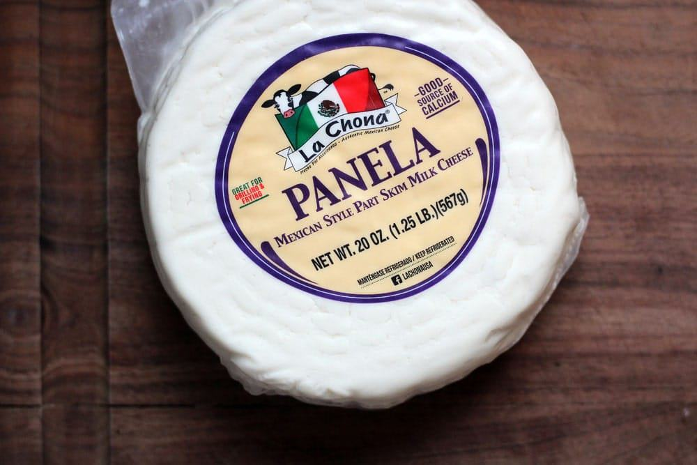 a disc of white Panela cheese used in the recipe or La Chona Panela Mexican style part skim milk cheese