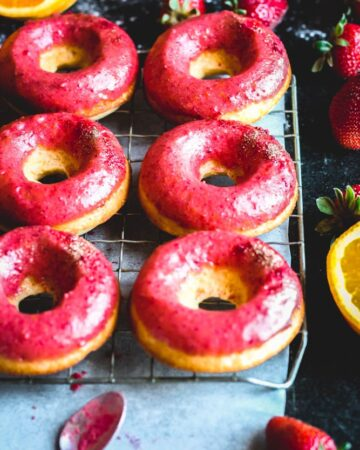 Orange Donuts with Strawberry Glaze