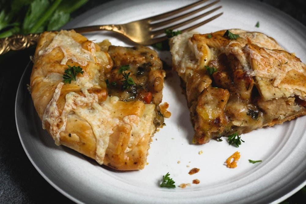 closeup shot of chicken potpie crostata pieces