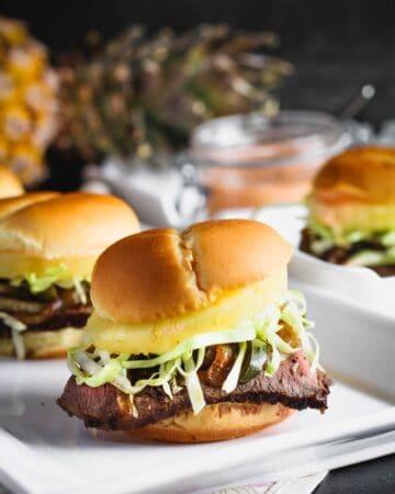 Teriyaki Steak and Pineapple Sliders