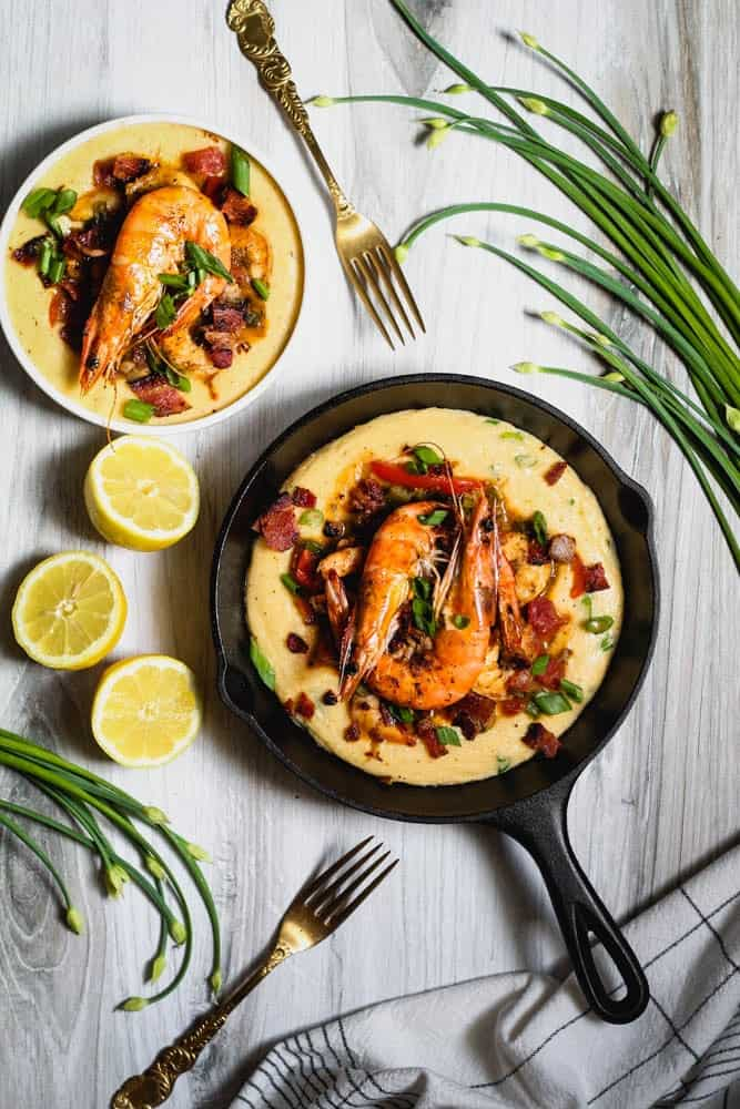 New Orleans Style BBQ Shrimp and Cheesy Grits