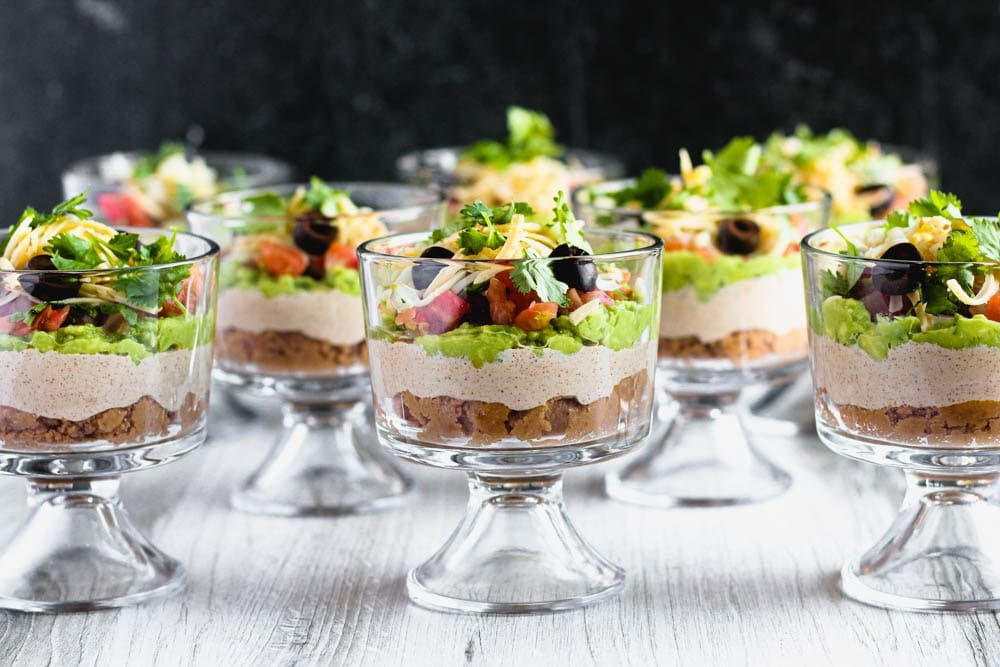 individual sever layer dips in small trifle dishes