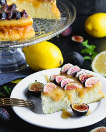 Lemon Yogurt Cake with Honey Caramel and Figs