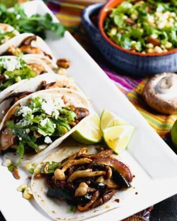Mushroom Tacos with Pecan Arugula Salsa
