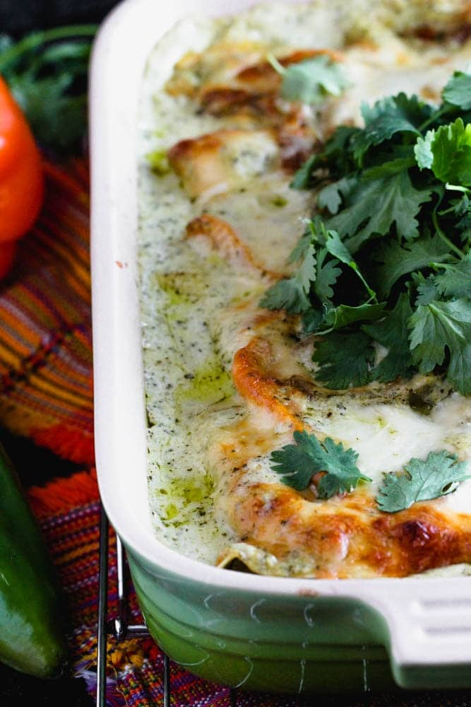 a browned cheese covered casserole garnished with cilantro leaves