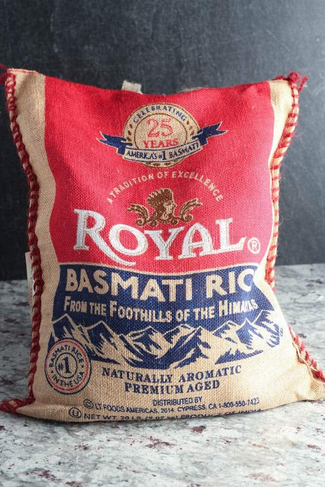 20 pound burlap bag of Royal brand basmati rice with a bright red and blue label