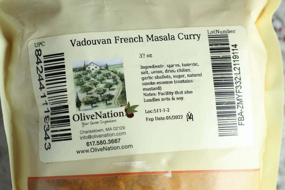 Label for Vadouvan French Masala Curry with ingredients list and brand name