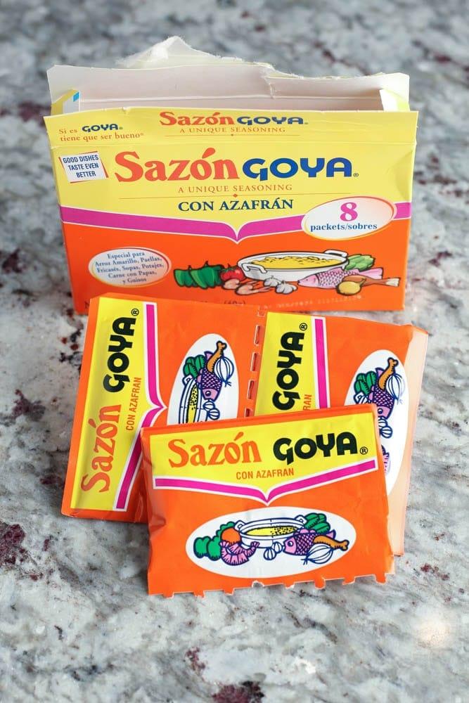 package of Sazon Con Azafran seasoning