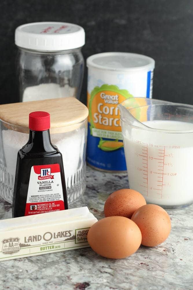 ingredients for vanilla custard