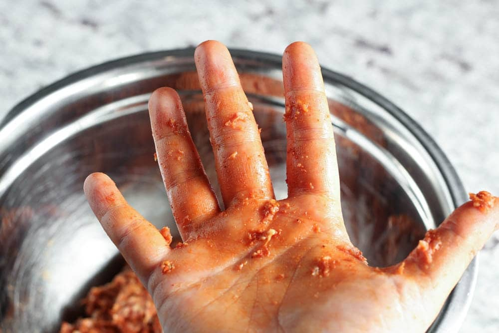 closeup of hand after mixing chorizo ingredients together without gloves so the hang has an orange cast