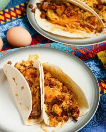 Chorizo and Potato Breakfast Tacos