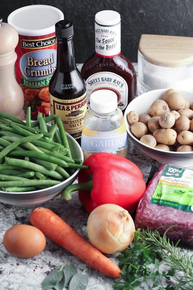 ingredients for BBQ Meatloaf Sheet Pan Dinner