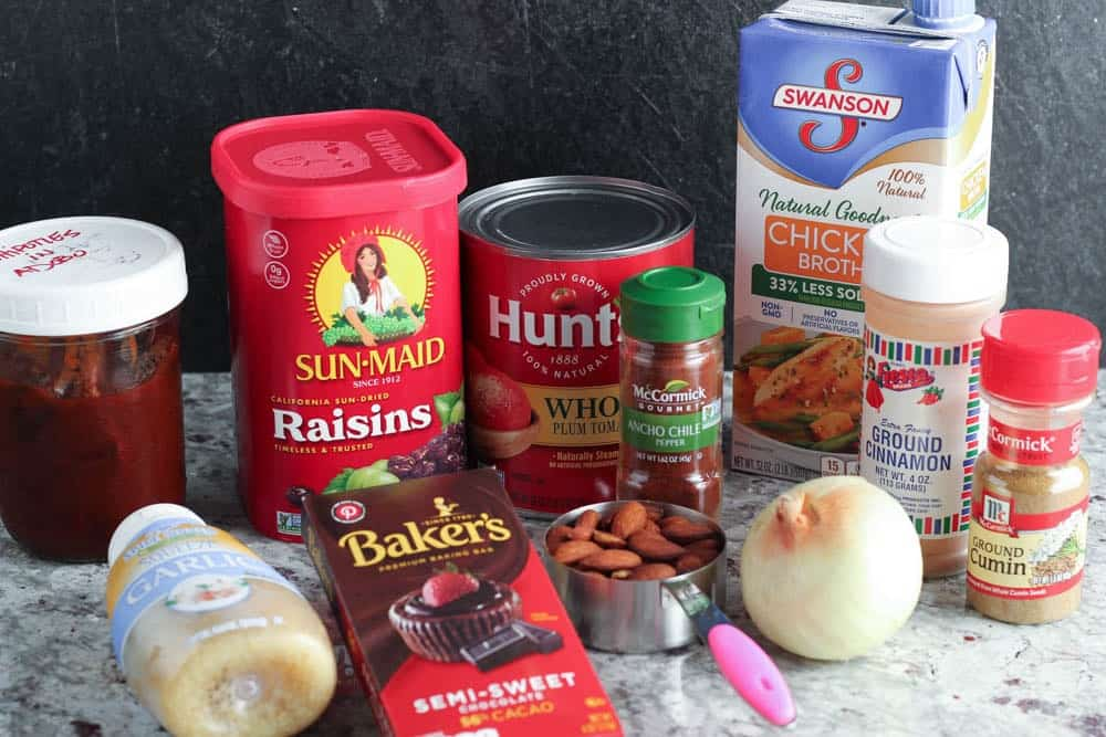 ingredients for crock pot mole pulled pork tacos