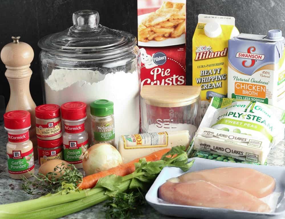 ingredients for chicken potpie crostata