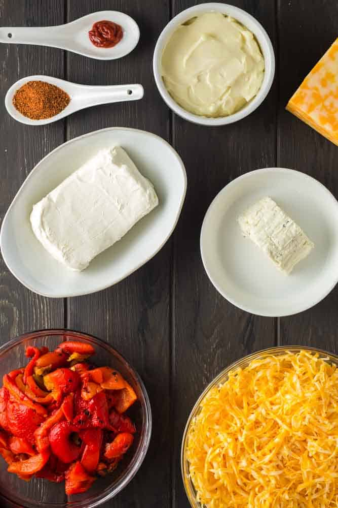 ingredients for the best ever pimento cheese