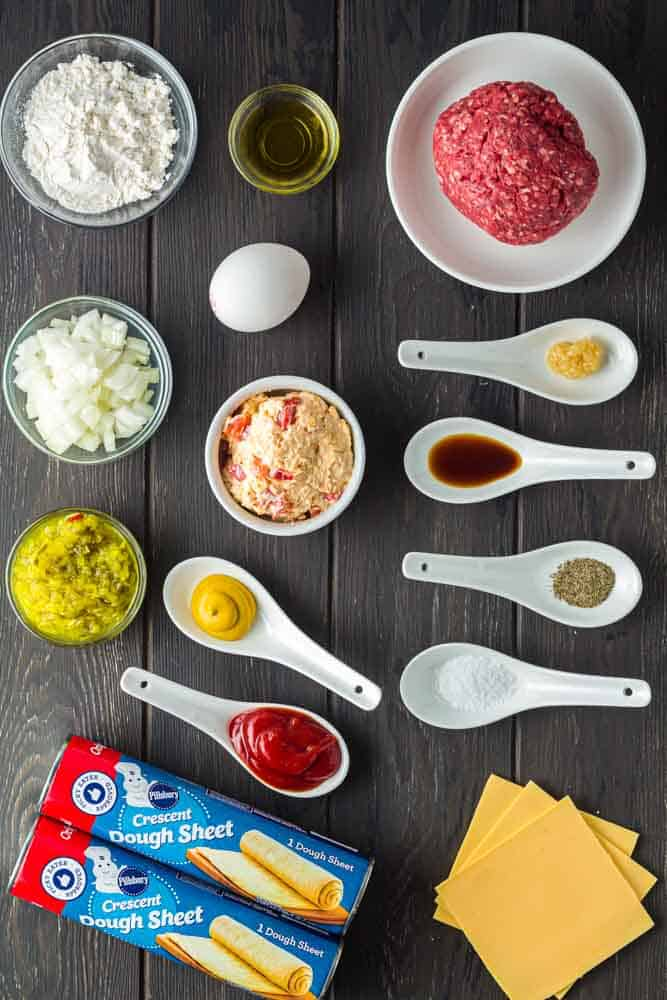 ingredients for pimento cheeseburger hand pies