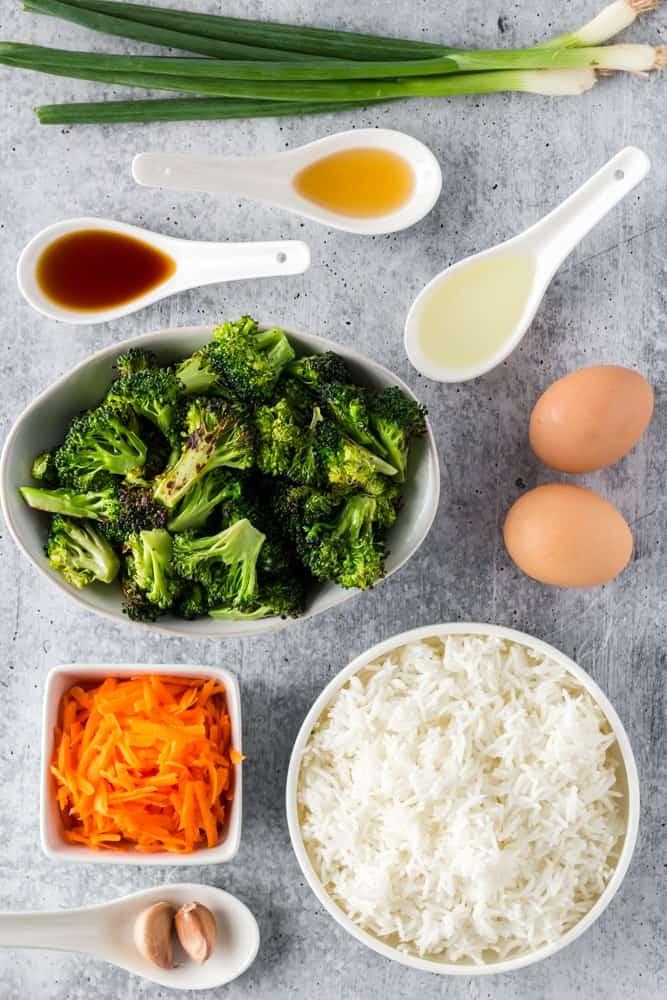 ingredients for vegetarian fried Rice