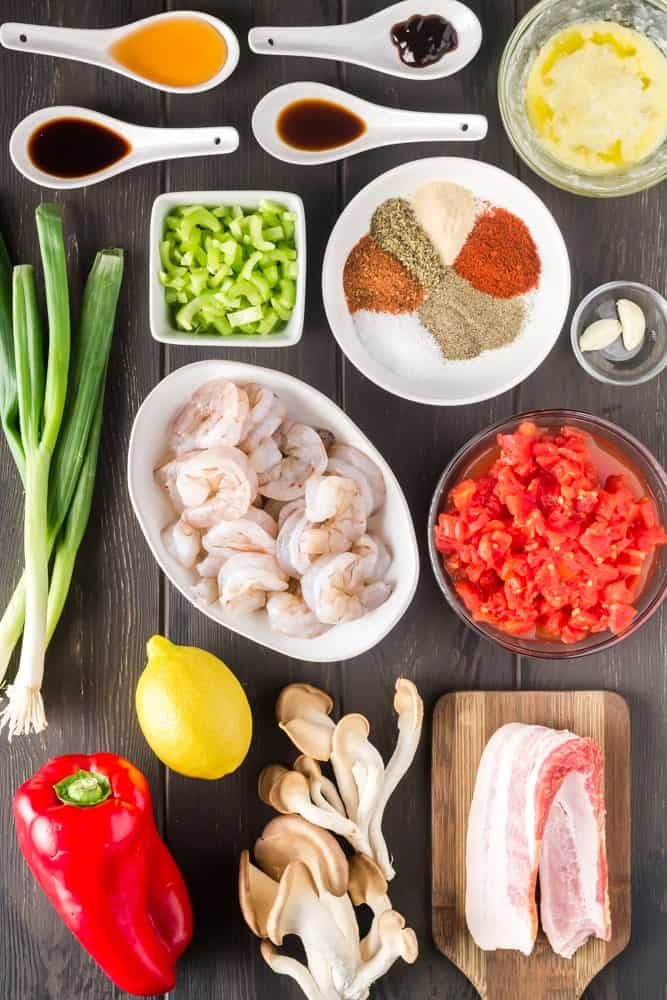 ingredients for new orleans bbq shrimp and cheesy grits