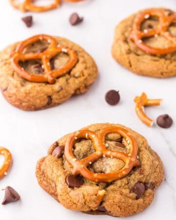 Brown Butter Chocolate Chip Cookies with Pretzels