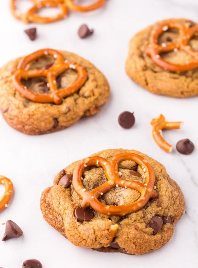 Brown Butter Chocolate Chip Cookies with Pretzels on white marble counter
