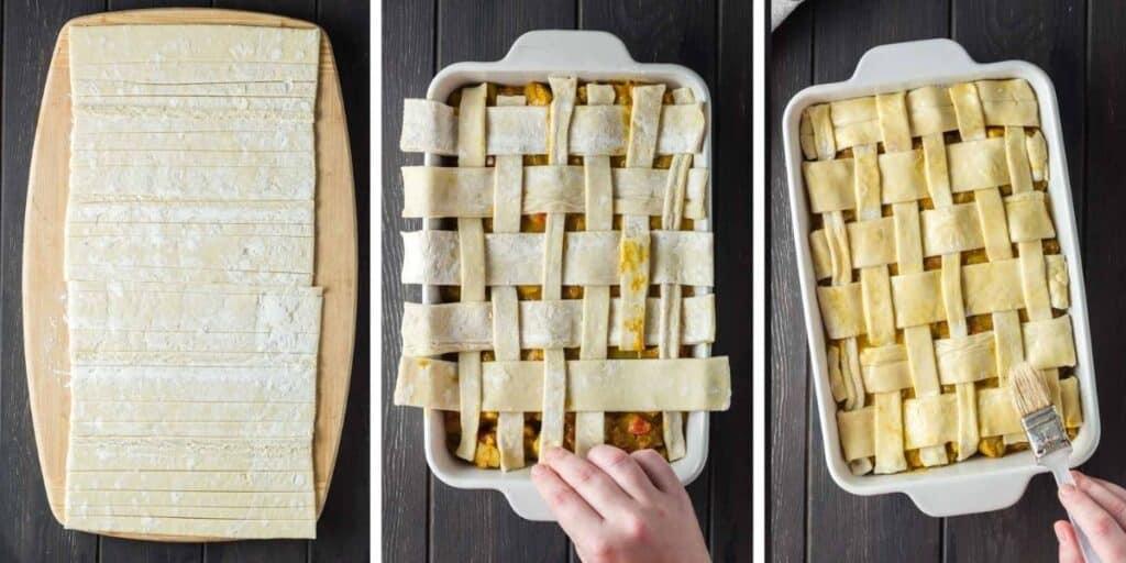 Easy Chicken Curry Pot Pie lattice process shot