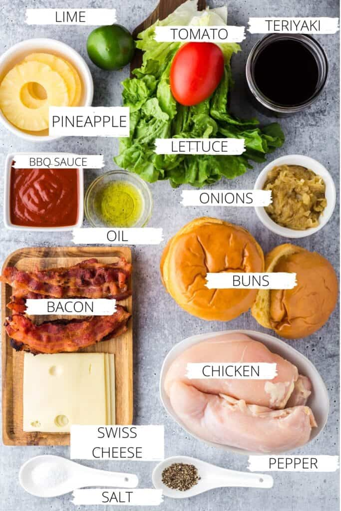 ingredients for hawaiian chicken sandwich with labels