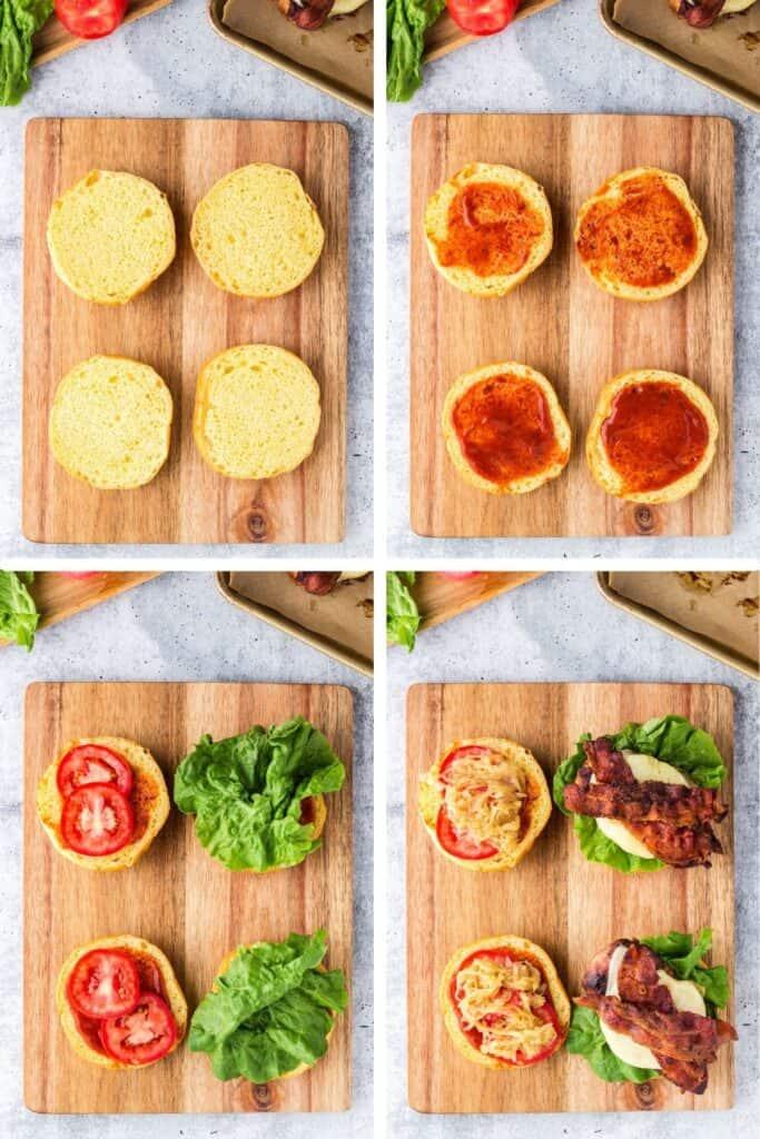 hawaiian chicken process shots of assembling the sandwiches