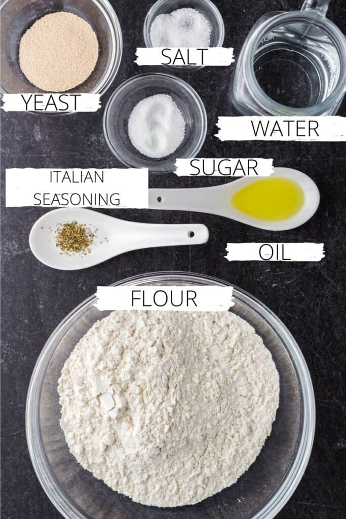 ingredients for easy homemade pizza dough